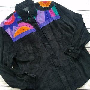 VTG Julian K Leather Stud Colorblock Button Up